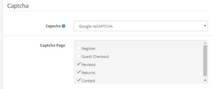 opencart captcha settings
