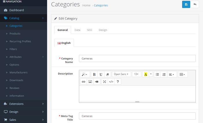 opencart general categories